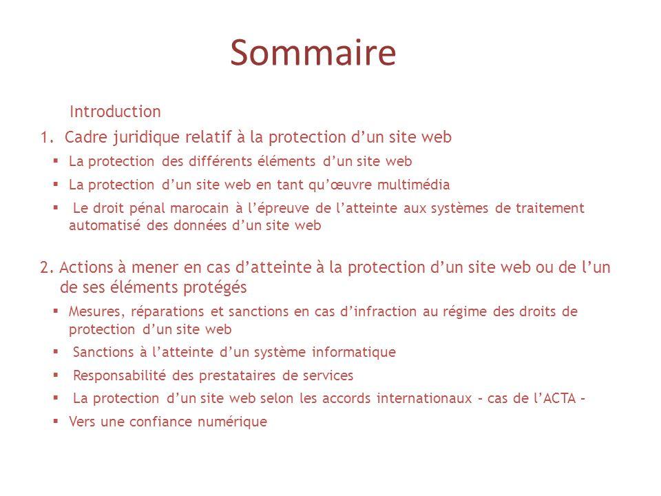 Sommaire Introduction 1.Cadre juridique relatif à la protection dun site web La protection des différents éléments dun site web La protection dun site