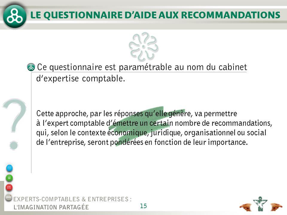 15 LE QUESTIONNAIRE DAIDE AUX RECOMMANDATIONS Ce questionnaire est paramétrable au nom du cabinet dexpertise comptable.