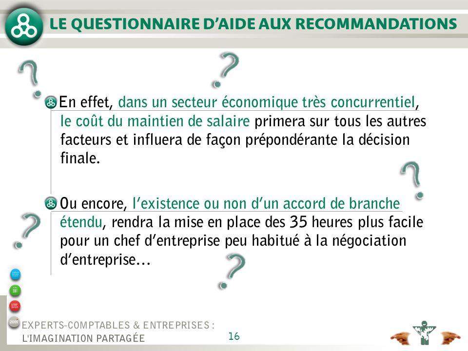 16 LE QUESTIONNAIRE DAIDE AUX RECOMMANDATIONS En effet, dans un secteur économique très concurrentiel, le coût du maintien de salaire primera sur tous les autres facteurs et influera de façon prépondérante la décision finale.