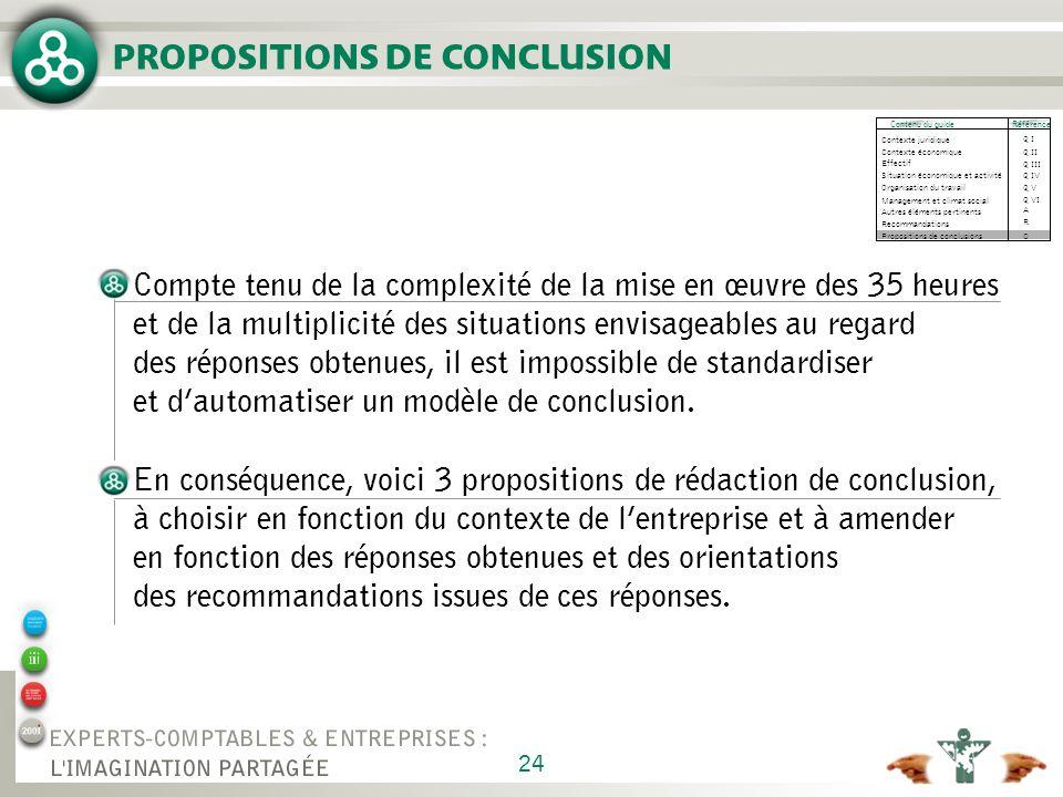 24 PROPOSITIONS DE CONCLUSION Compte tenu de la complexité de la mise en œuvre des 35 heures et de la multiplicité des situations envisageables au regard des réponses obtenues, il est impossible de standardiser et dautomatiser un modèle de conclusion.