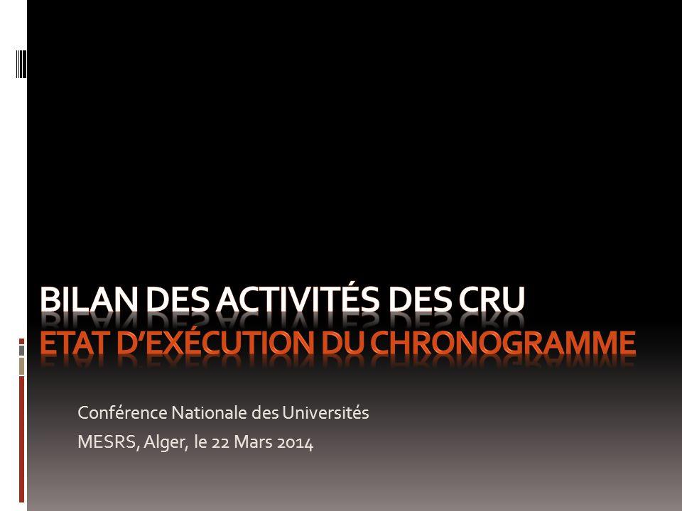Conférence Nationale des Universités MESRS, Alger, le 22 Mars 2014