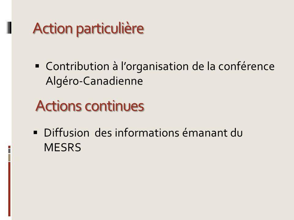 Action particulière Contribution à lorganisation de la conférence Algéro-Canadienne Actions continues Diffusion des informations émanant du MESRS