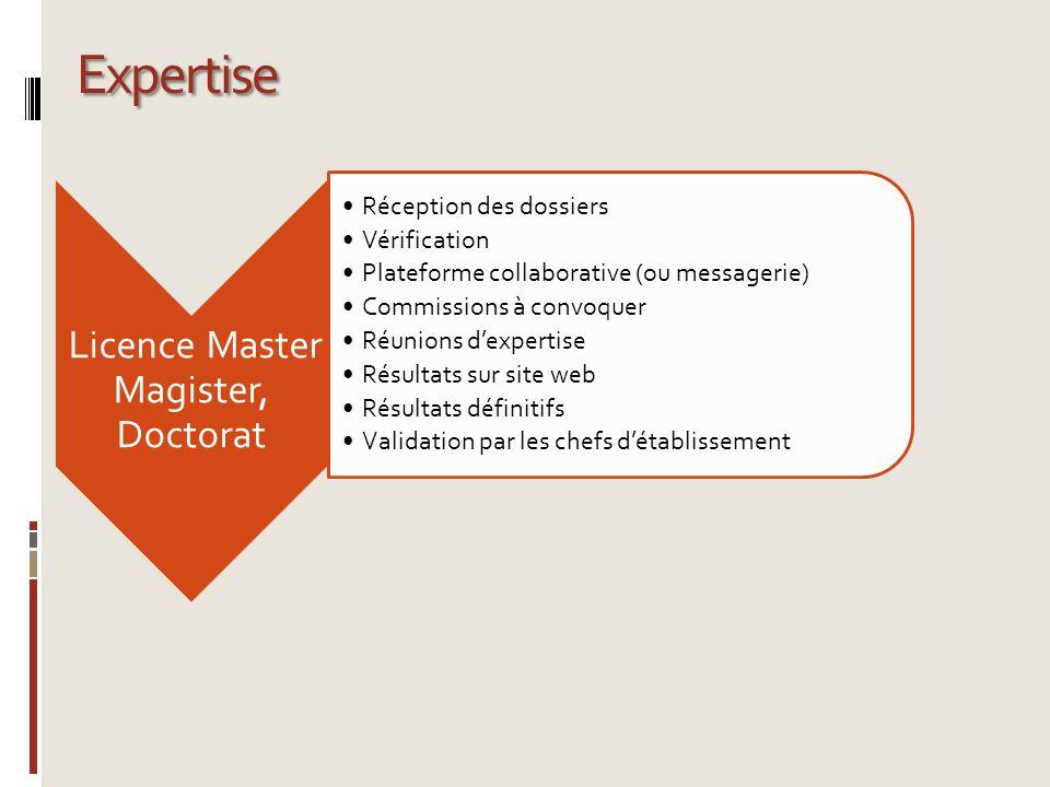 Expertise Licence Master Magister, Doctorat Réception des dossiers Vérification Plateforme collaborative (ou messagerie) Commissions à convoquer Réuni