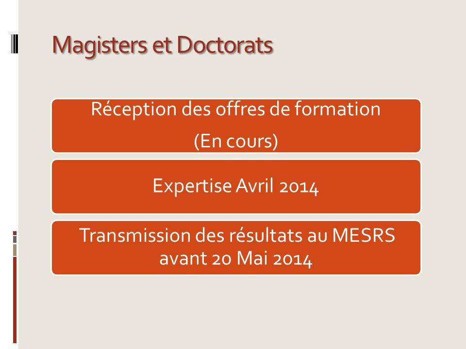 Magisters et Doctorats Réception des offres de formation (En cours) Expertise Avril 2014 Transmission des résultats au MESRS avant 20 Mai 2014