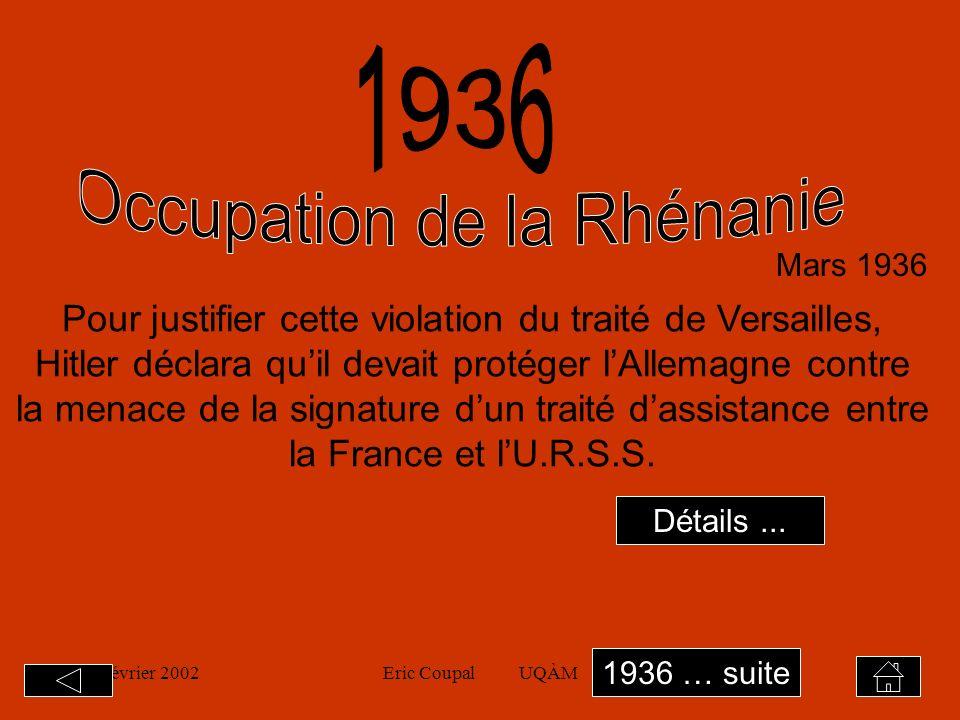 19 février 2002Eric Coupal UQÀM9 La SDN décide dappliquer des sanctions contre lItalie qui se révèlent inefficaces.