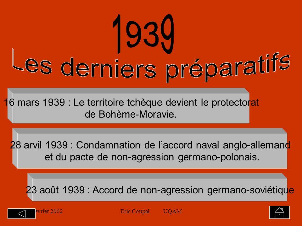 19 février 2002Eric Coupal UQÀM16 Revendications territoriales en Pologne et en Hongrie Conférence de Munich septembre 1938