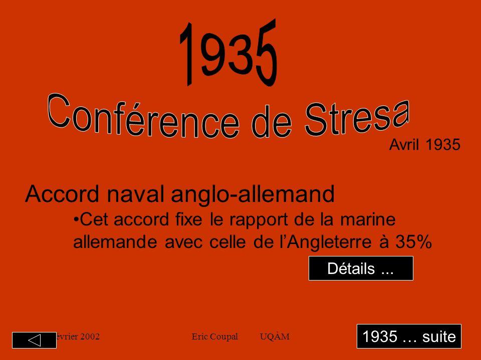 19 février 2002Eric Coupal UQÀM7 Avril 1935 Accord naval anglo-allemand Cet accord fixe le rapport de la marine allemande avec celle de lAngleterre à 35% 1935 … suite Détails...