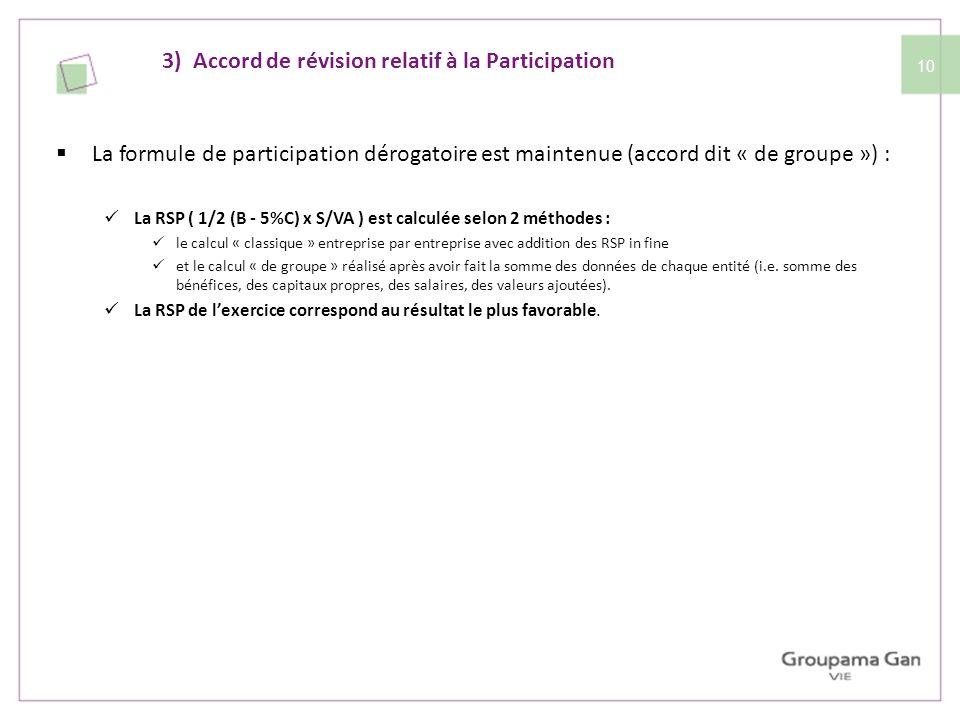 10 La formule de participation dérogatoire est maintenue (accord dit « de groupe ») : La RSP ( 1/2 (B - 5%C) x S/VA ) est calculée selon 2 méthodes :