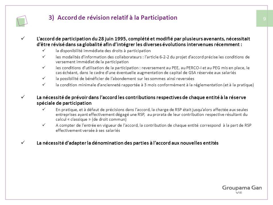 10 La formule de participation dérogatoire est maintenue (accord dit « de groupe ») : La RSP ( 1/2 (B - 5%C) x S/VA ) est calculée selon 2 méthodes : le calcul « classique » entreprise par entreprise avec addition des RSP in fine et le calcul « de groupe » réalisé après avoir fait la somme des données de chaque entité (i.e.