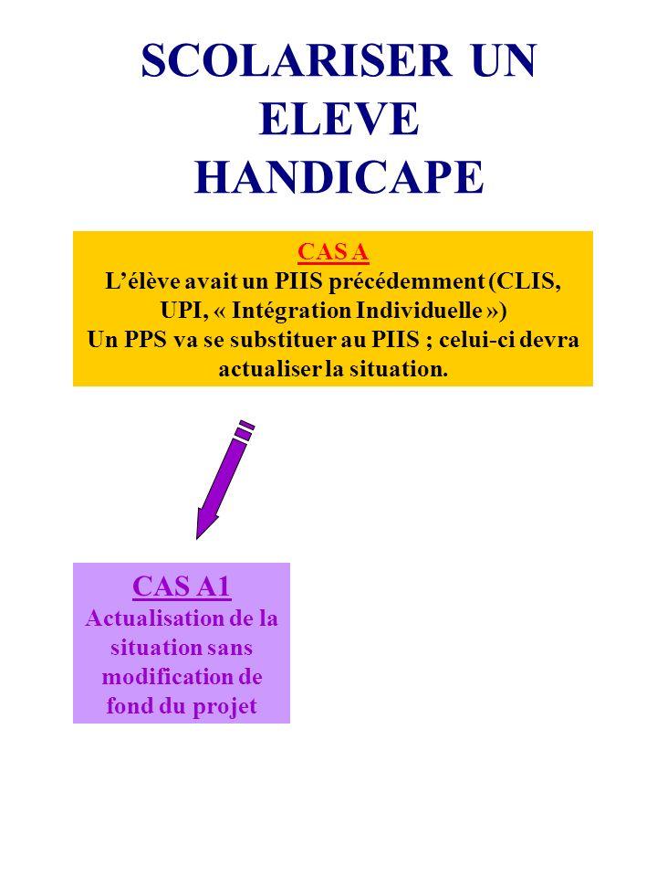 SCOLARISER UN ELEVE HANDICAPE CAS A Lélève avait un PIIS précédemment (CLIS, UPI, « Intégration Individuelle ») Un PPS va se substituer au PIIS ; celui-ci devra actualiser la situation.