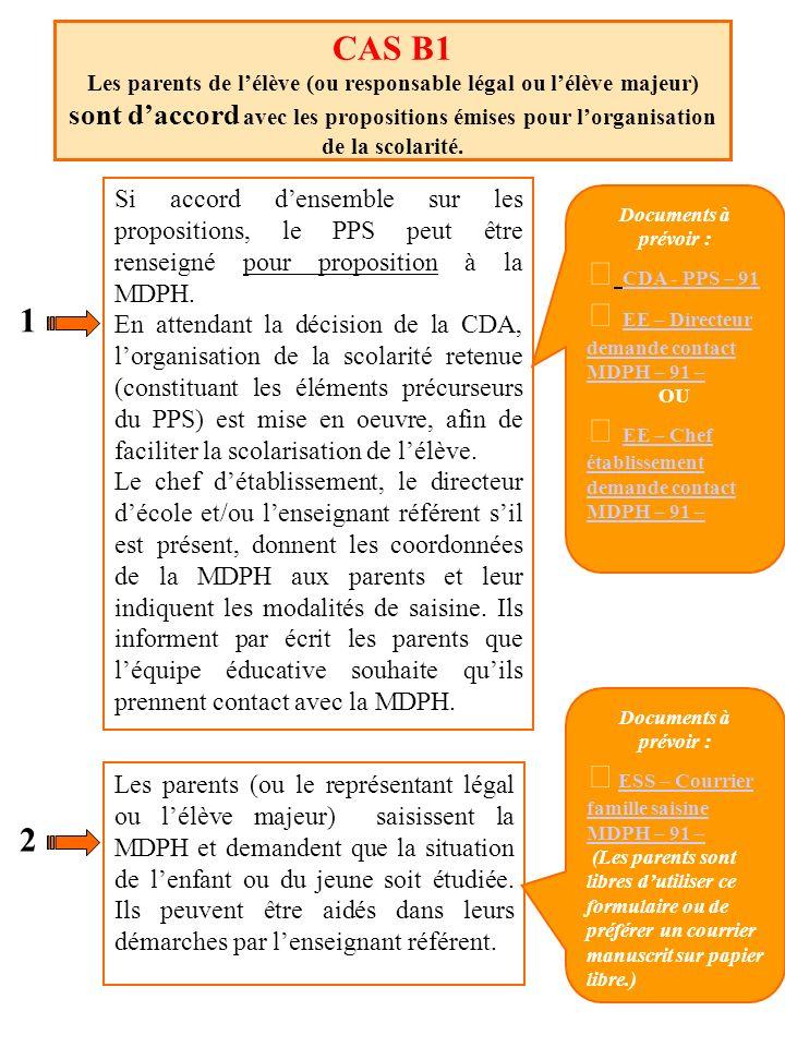 CAS B1 Les parents de lélève (ou responsable légal ou lélève majeur) sont daccord avec les propositions émises pour lorganisation de la scolarité. Si