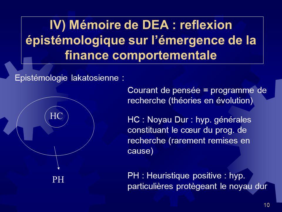 10 IV) Mémoire de DEA : reflexion épistémologique sur lémergence de la finance comportementale Epistémologie lakatosienne : Courant de pensée = progra