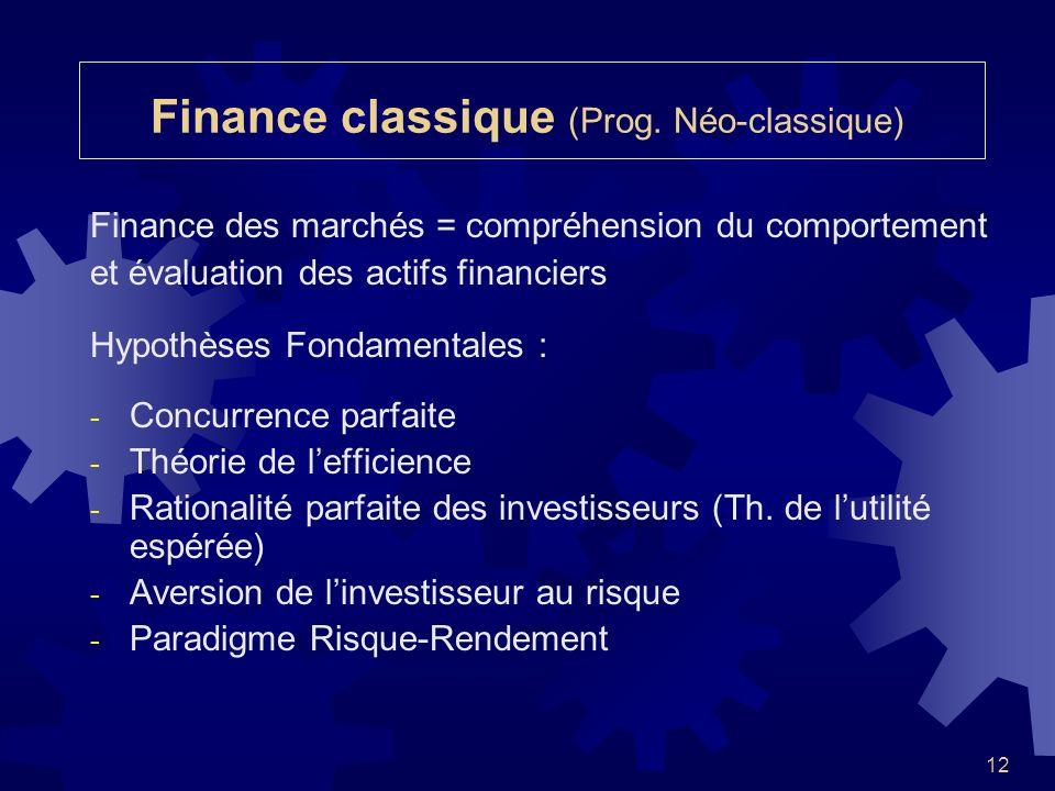 12 Finance classique (Prog. Néo-classique) Finance des marchés = compréhension du comportement et évaluation des actifs financiers Hypothèses Fondamen