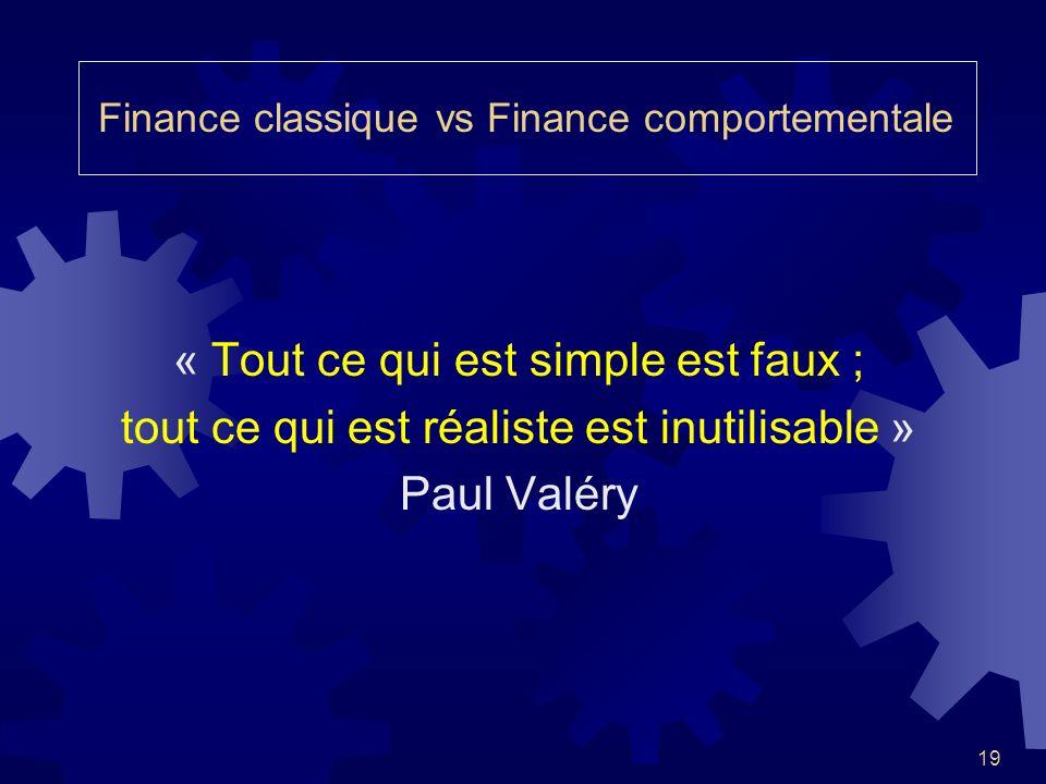 19 « Tout ce qui est simple est faux ; tout ce qui est réaliste est inutilisable » Paul Valéry Finance classique vs Finance comportementale