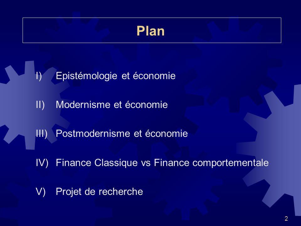 2 Plan I)Epistémologie et économie II)Modernisme et économie III)Postmodernisme et économie IV)Finance Classique vs Finance comportementale V)Projet d