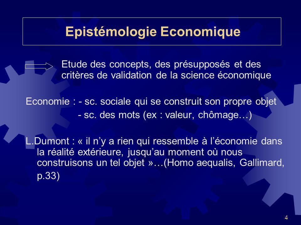 4 Etude des concepts, des présupposés et des critères de validation de la science économique Economie : - sc. sociale qui se construit son propre obje