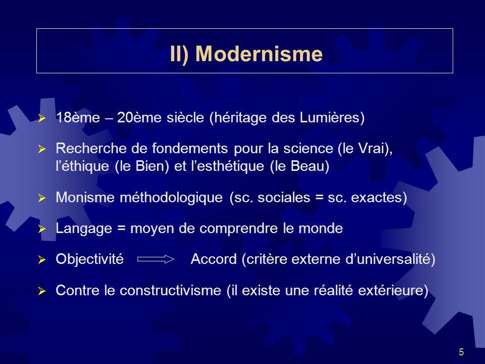 5 II) Modernisme 18ème – 20ème siècle (héritage des Lumières) Recherche de fondements pour la science (le Vrai), léthique (le Bien) et lesthétique (le