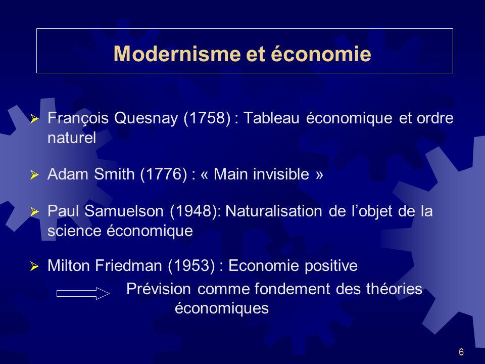 6 Modernisme et économie François Quesnay (1758) : Tableau économique et ordre naturel Adam Smith (1776) : « Main invisible » Paul Samuelson (1948): N
