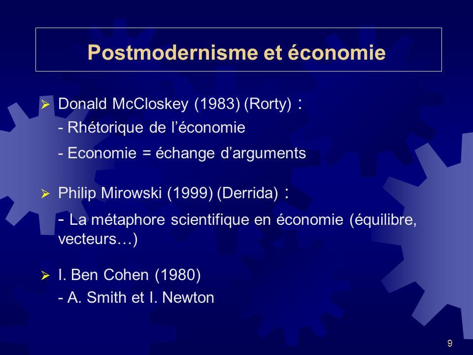 9 Postmodernisme et économie Donald McCloskey (1983) (Rorty) : - Rhétorique de léconomie - Economie = échange darguments Philip Mirowski (1999) (Derri