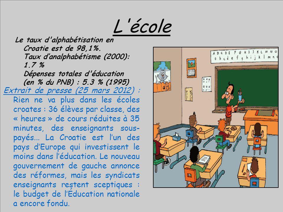L'école Le taux d'alphabétisation en Croatie est de 98,1%. Taux danalphabétisme (2000): 1.7 % Dépenses totales d'éducation (en % du PNB) : 5.3 % (1995