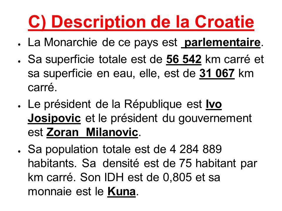 C) Description de la Croatie La Monarchie de ce pays est parlementaire. Sa superficie totale est de 56 542 km carré et sa superficie en eau, elle, est