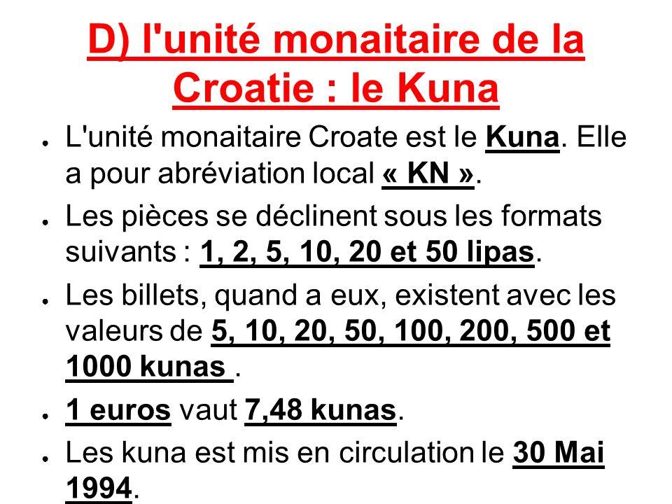D) l'unité monaitaire de la Croatie : le Kuna L'unité monaitaire Croate est le Kuna. Elle a pour abréviation local « KN ». Les pièces se déclinent sou