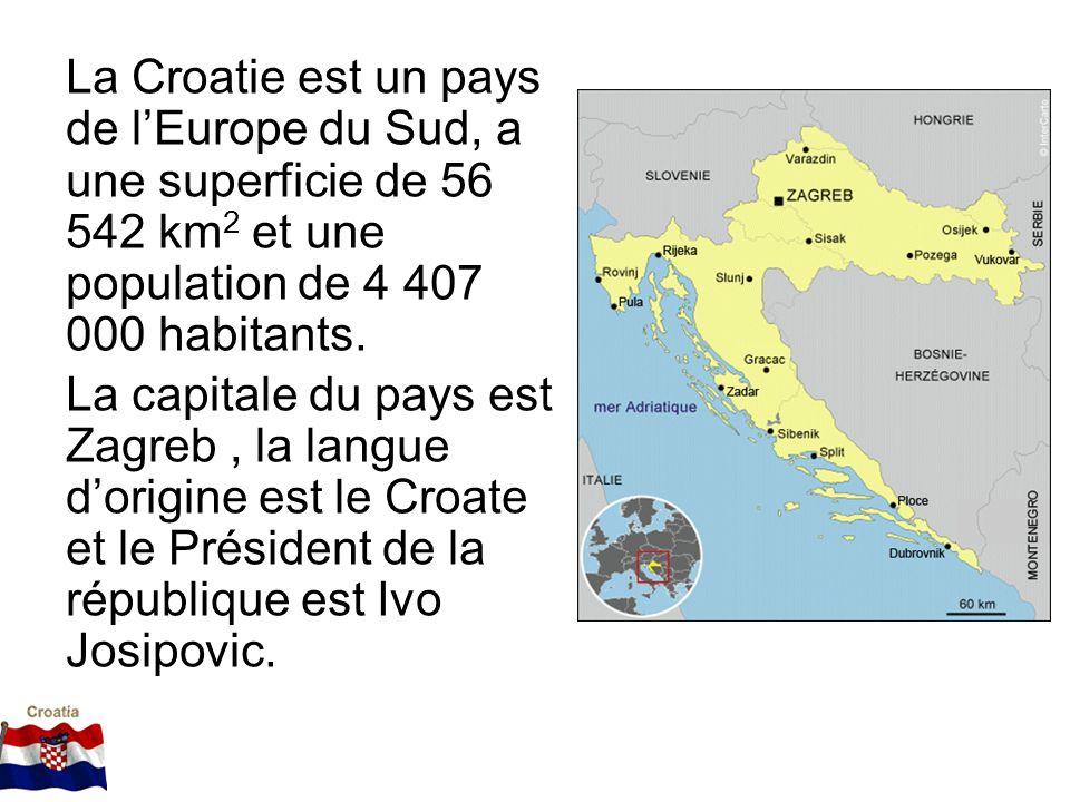La Croatie est un pays de lEurope du Sud, a une superficie de 56 542 km 2 et une population de 4 407 000 habitants. La capitale du pays est Zagreb, la