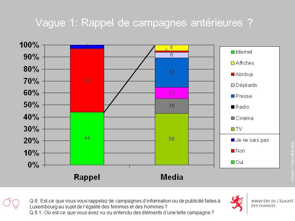 COMED / TNS ILRES 2006 Vague 1: Rappel de campagnes antérieures ? Q 8: Est-ce que vous vous rappelez de campagnes dinformation ou de publicité faites