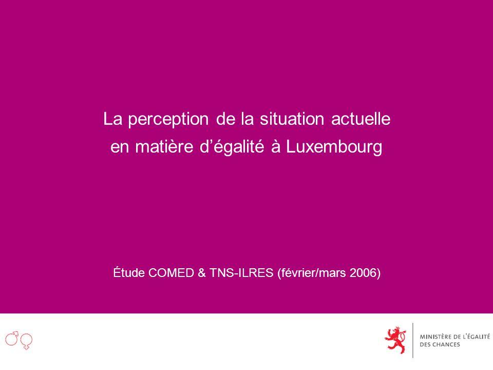 La perception de la situation actuelle en matière dégalité à Luxembourg Étude COMED & TNS-ILRES (février/mars 2006)