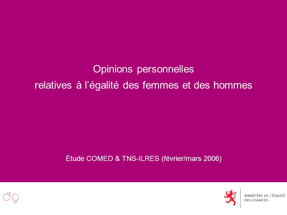 Opinions personnelles relatives à légalité des femmes et des hommes Étude COMED & TNS-ILRES (février/mars 2006)