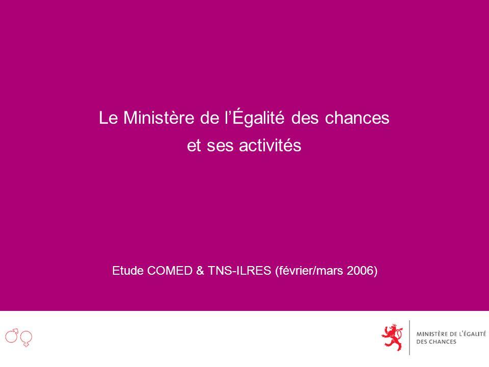 Le Ministère de lÉgalité des chances et ses activités Etude COMED & TNS-ILRES (février/mars 2006)
