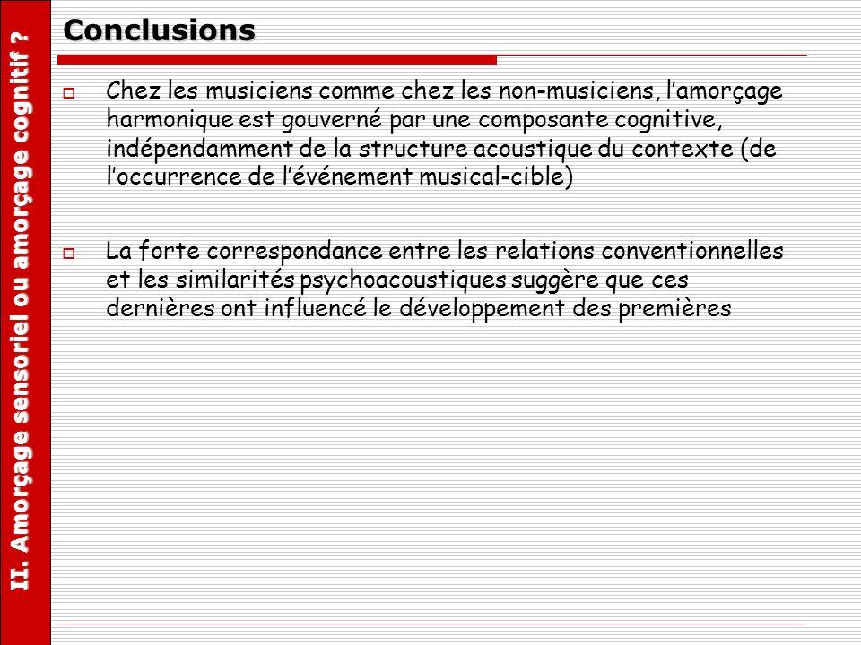 II. Amorçage sensoriel ou amorçage cognitif ? Conclusions Chez les musiciens comme chez les non-musiciens, lamorçage harmonique est gouverné par une c