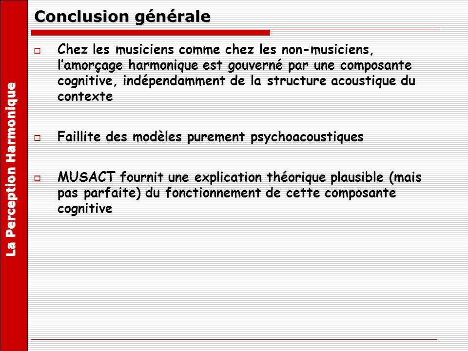 Conclusion générale Chez les musiciens comme chez les non-musiciens, lamorçage harmonique est gouverné par une composante cognitive, indépendamment de