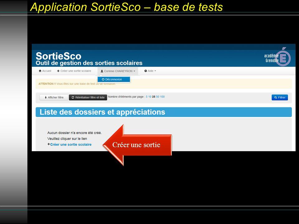 Application SortieSco – base de tests Créer une sortie