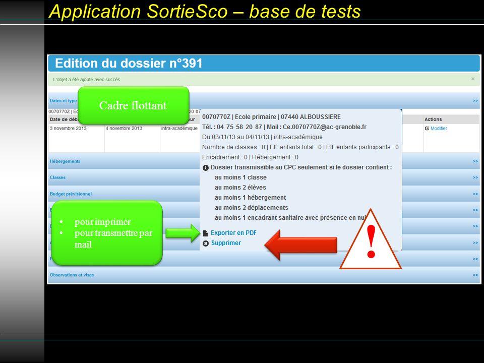 Application SortieSco – base de tests Cadre flottant pour imprimer pour transmettre par mail pour imprimer pour transmettre par mail !