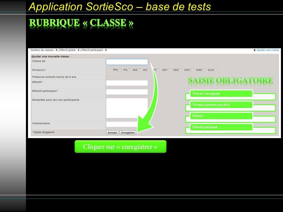 Application SortieSco – base de tests Nom de lenseignantNiveaux (plusieurs possible)EffectifEffectif participant Cliquer sur « enregistrer »