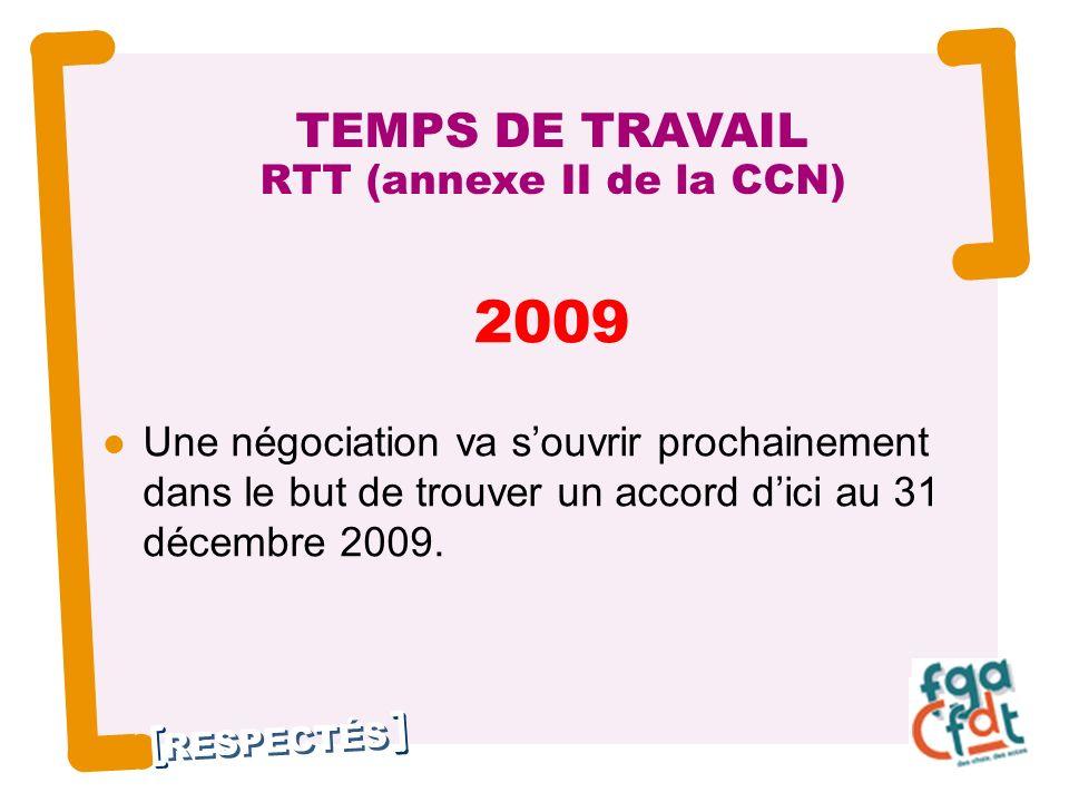 RESPECTÉS 2009 Une négociation va souvrir prochainement dans le but de trouver un accord dici au 31 décembre 2009.