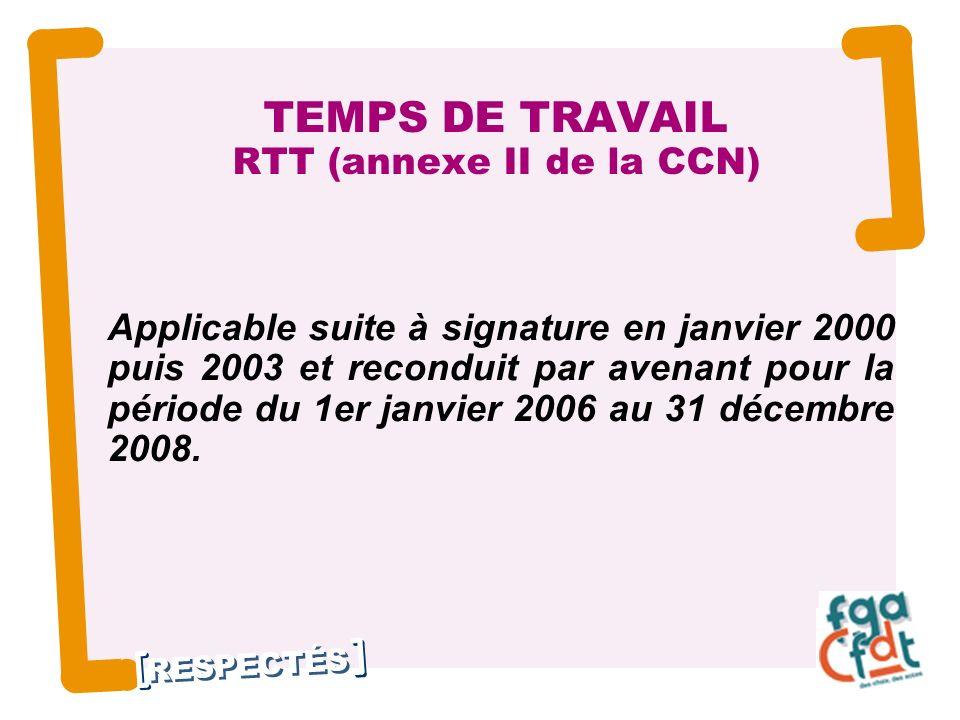 RESPECTÉS 2 TEMPS DE TRAVAIL RTT (annexe II de la CCN) Applicable suite à signature en janvier 2000 puis 2003 et reconduit par avenant pour la période du 1er janvier 2006 au 31 décembre 2008.