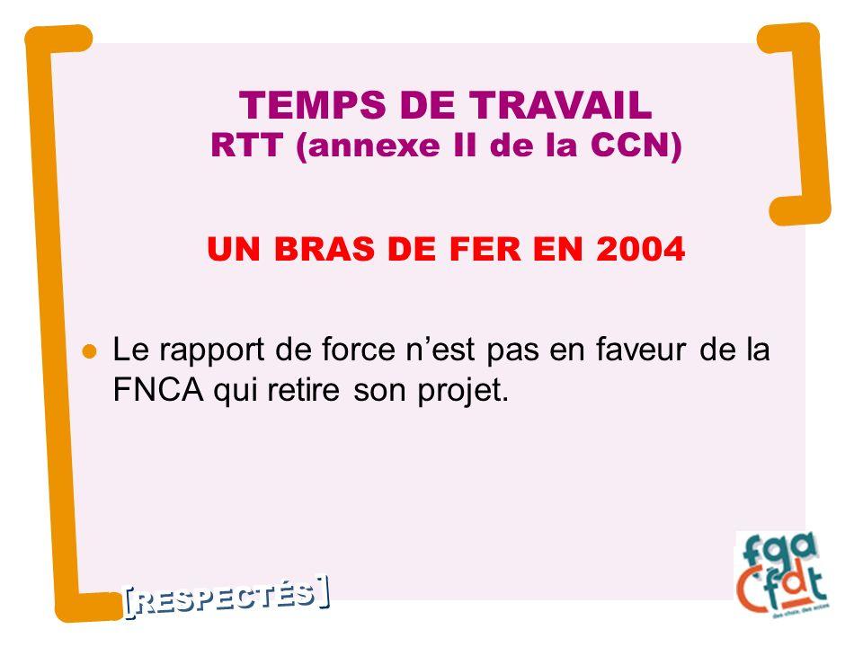 RESPECTÉS UN BRAS DE FER EN 2004 Le rapport de force nest pas en faveur de la FNCA qui retire son projet.