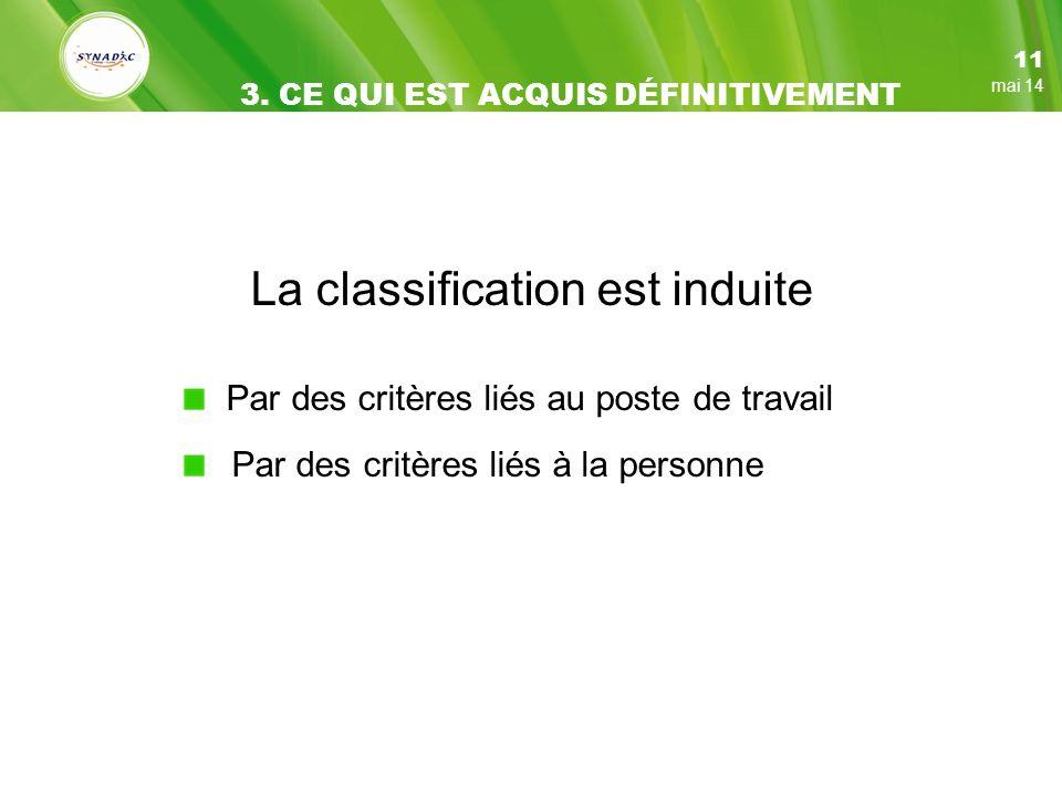 La classification est induite Par des critères liés au poste de travail Par des critères liés à la personne 11 mai 14 3.