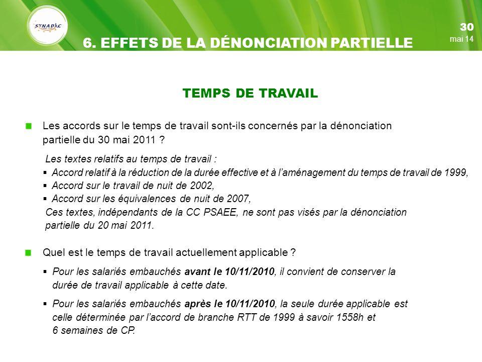 TEMPS DE TRAVAIL Les accords sur le temps de travail sont-ils concernés par la dénonciation partielle du 30 mai 2011 .