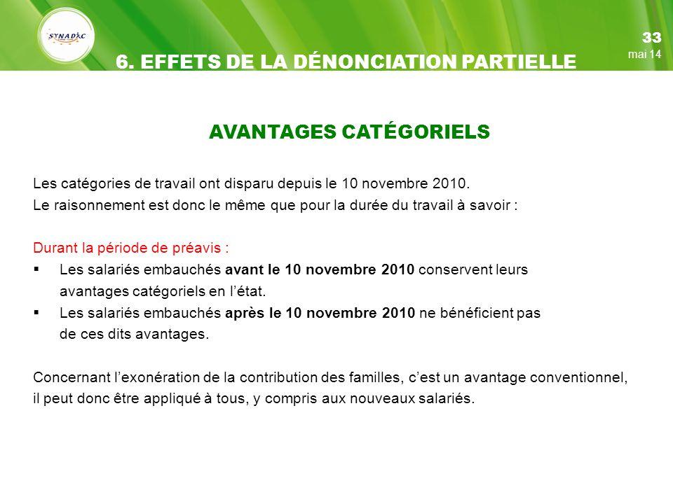 AVANTAGES CATÉGORIELS Les catégories de travail ont disparu depuis le 10 novembre 2010.
