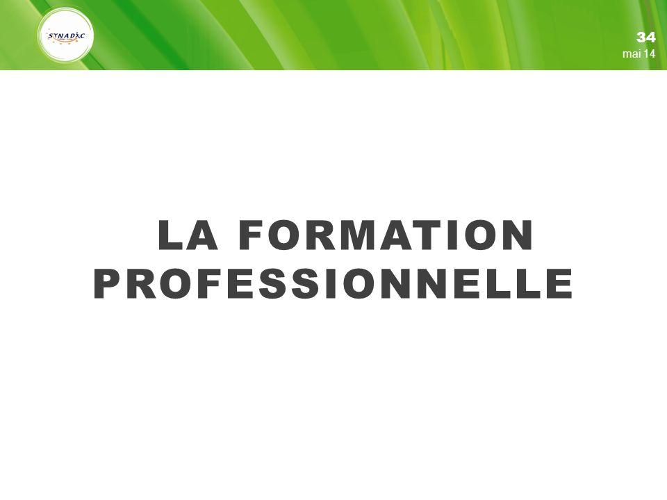 LA FORMATION PROFESSIONNELLE 34 mai 14