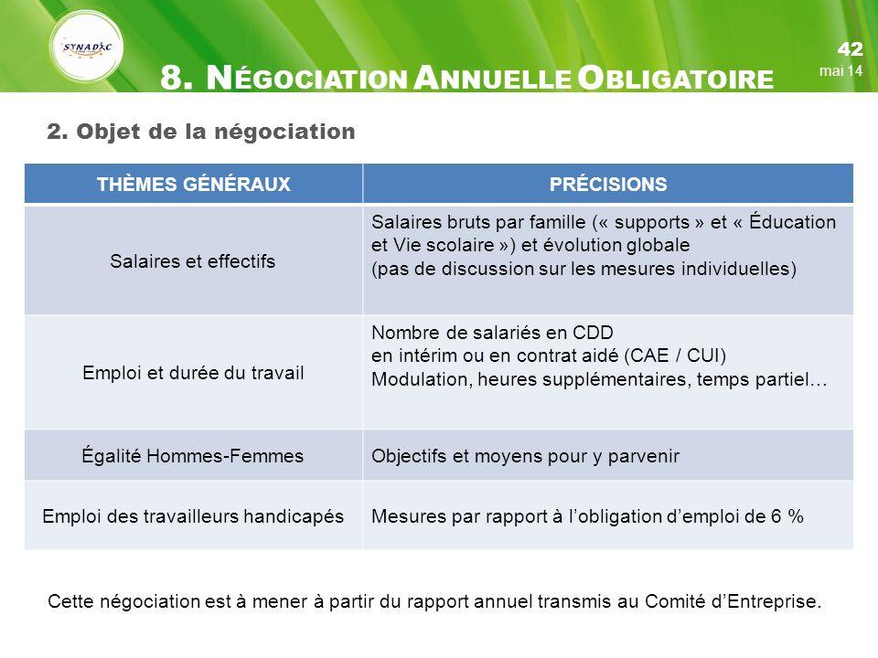 2. Objet de la négociation THÈMES GÉNÉRAUXPRÉCISIONS Salaires et effectifs Salaires bruts par famille (« supports » et « Éducation et Vie scolaire »)