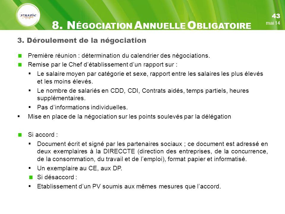 3.Déroulement de la négociation Première réunion : détermination du calendrier des négociations.
