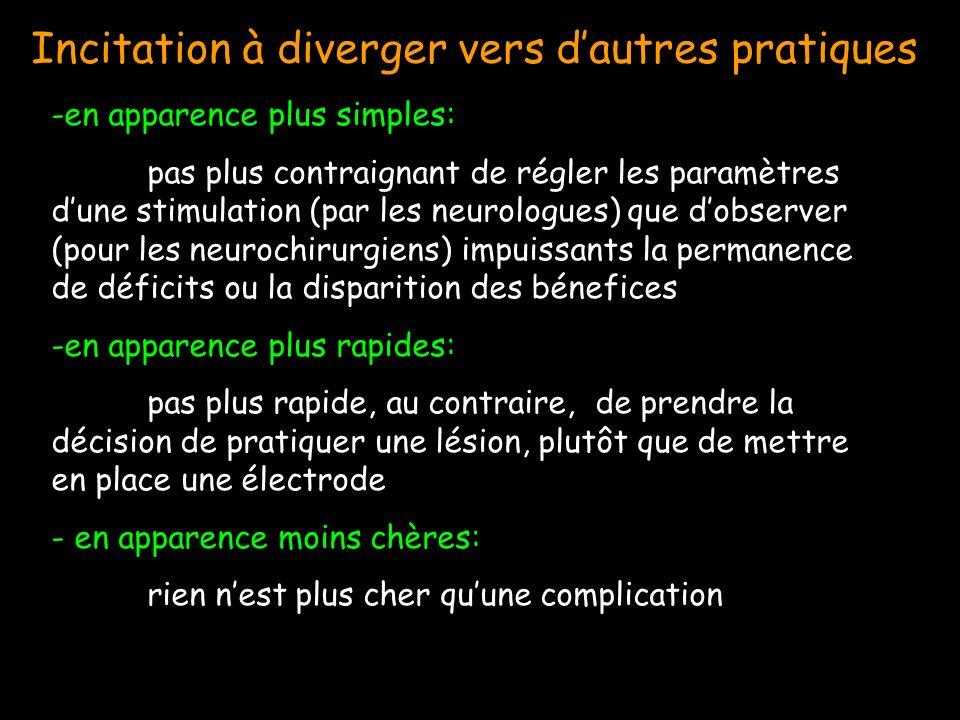 -en apparence plus simples: pas plus contraignant de régler les paramètres dune stimulation (par les neurologues) que dobserver (pour les neurochirurgiens) impuissants la permanence de déficits ou la disparition des bénefices -en apparence plus rapides: pas plus rapide, au contraire, de prendre la décision de pratiquer une lésion, plutôt que de mettre en place une électrode - en apparence moins chères: rien nest plus cher quune complication Incitation à diverger vers dautres pratiques