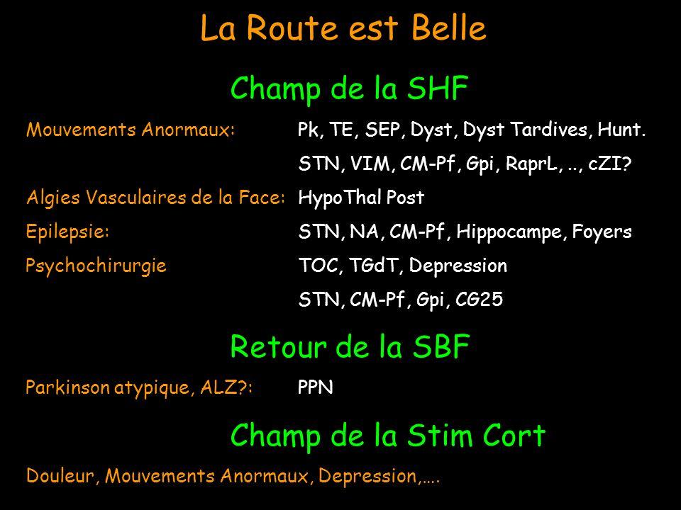 La Route est Belle Champ de la SHF Mouvements Anormaux: Pk, TE, SEP, Dyst, Dyst Tardives, Hunt. STN, VIM, CM-Pf, Gpi, RaprL,.., cZI? Algies Vasculaire