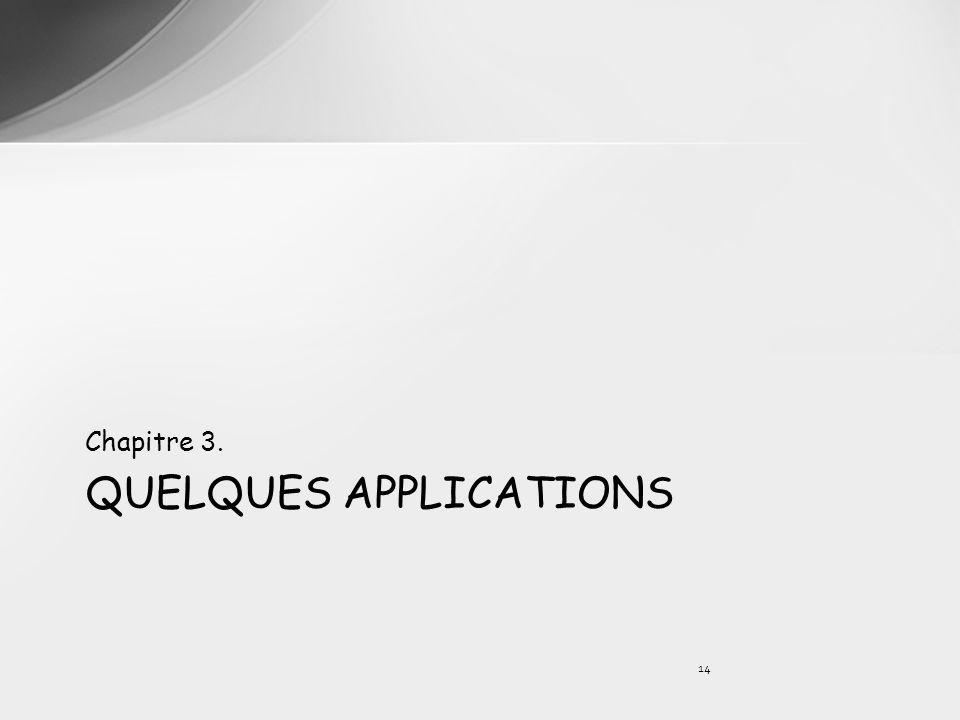 QUELQUES APPLICATIONS Chapitre 3. 14