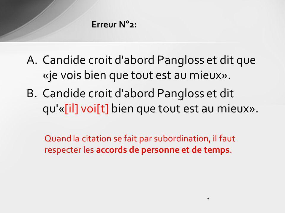 4 A.Candide croit d'abord Pangloss et dit que «je vois bien que tout est au mieux». B.Candide croit d'abord Pangloss et dit qu'«[il] voi[t] bien que t