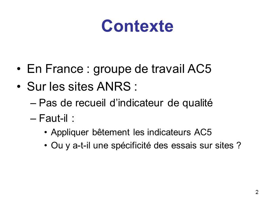 2 Contexte En France : groupe de travail AC5 Sur les sites ANRS : –Pas de recueil dindicateur de qualité –Faut-il : Appliquer bêtement les indicateurs AC5 Ou y a-t-il une spécificité des essais sur sites ?
